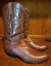 Lucchese Hand Made Brown Lizard Men Western Boots Size 10.5 **Fresh Soles&Heels