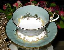 AYNSLEY England FANCY GOLD on SAGE Tea Cup & Saucer WIDE MOUTH TEACUP