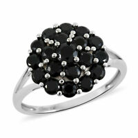 925 Sterling Silver Black Spinel Statement Ring Gift Jewelry for Women Ct 2.4