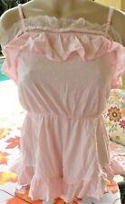 Victorias Secret XS pink cotton swiss dot romper short nightie cover up ruffled