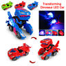 LED Transforming Dinosaur Car T Rex Toy With Light&Sound Electric Xmas Gift TOY