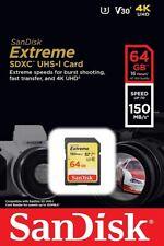 SanDisk 64GB SD Extreme 150MB/s U3 4K V30 64G SDXC USH-I C10 SDSDXV6-064G-GNCIN