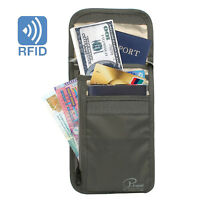 RFID Blocking Passport Neck Stash Pouch Security Travel + set of Card Sleeves