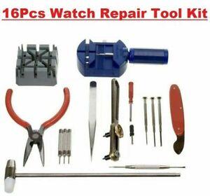 Watch Repair Tool Kit 16 Pcs Set Wrist Strap Adjust Pin Back Remover Fix Fast UK
