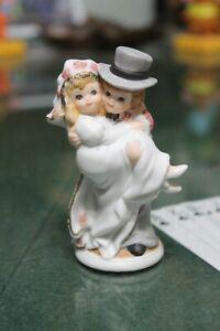 1987 Lefton 4 Inch Bride And Groom Porcelain Figurine Wedding Cake Topper