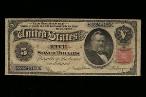 """1891 $5 Large Silver Certificate FR 267 FINE     """"HARD TO FIND IN THIS GRADE"""""""