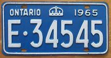 Ontario 1965 License Plate NICE QUALITY # E-34545