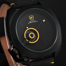SHARK Men Tawny Quartz Black Leather Strap yellow Date Wrist Watch Fashion Gift