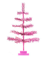18'' Pink Barbie Tinsel Tree Valentine's Day Ornament 1.5FT Table-Top W/ Stand