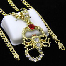 "Mens Gold Plated Hip-Hop Red Ruby Cz Scorpion Pendant 24"" Cuban Chain Necklace"
