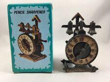 Mechanical Clock Pencil Sharpener Antique Finished Die Cast w/Box