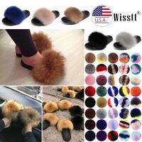 Real Rabbit Fur Slippers/Slides Fashion Sandals Women's Flat Shoes Multicolor