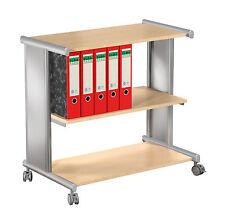 Bürowagen Etagenwagen mit Ablageböden Buche / silber Aktenwagen Büro Ablage