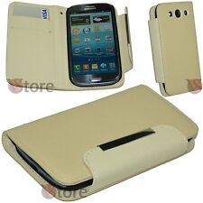 Custodia Cover Per SAMSUNG Galaxy S3 i9300 Eco Pelle Beige + Pellicola Display