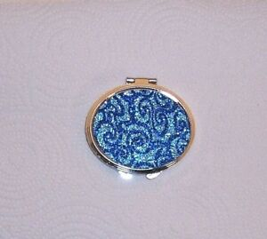 "2 Sided Folding Compact ""Blue Oval"" Pocket,Make Up/Purse/Mirror Reg & Magnifying"