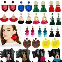 2019 Women Thread Long Tassel Earrings Rhinestone Drop Statement Fringe Earrings