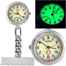 Nurse Nursing Chain Brooch Pin Clip-on Luminous Fob Pocket Watch Gift