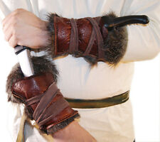 Medieval-Larp-Sca-Re enactment BROWN LEATHER/FAKE FUR ARM BRACERS Pair One Size