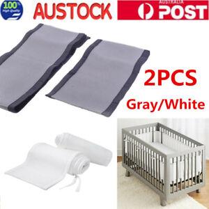 2pcs Baby Breathable Protector Mesh Crib Liner Wrap Nursery Cot Bed Bumper AU