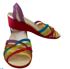 """Crocs Womens Pink Multicolor Strappy Slingback 1.5"""" Wedge Sandal Size 8"""