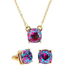 Bijoux Iridescent Glitter Small Square Stud Earring Pendent Necklace Jewelry set