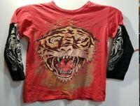 2010 T-shirt long sleeve Ed Hardy tiger boys kids  XL red Christian Audigier