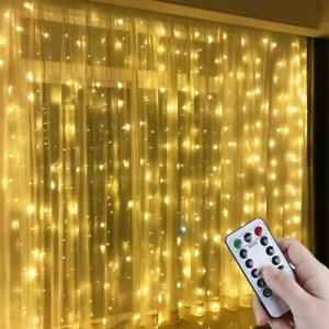 300/600 LED Curtain Fairy String Lights Indoor Controller Window Wedding Decor