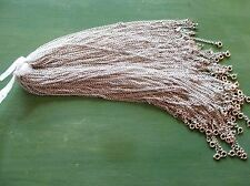 Wholesale Lot of 25 Plain, Simple, Silver Tone Necklace Chains, 24 Inches