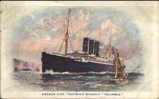 Anchor Line Steamship Columbia c1910 Postcard