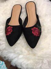 Black Pointy Toe Red Rose Flower Embroidered Mules Loafer Flat Sandal Slipper US