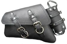 D Leather Harley Sportster Bag Plain Black Leather & Holder Style Left Saddlebag