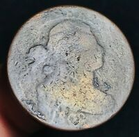 1802 US Draped Bust Large Cent 1C STEMS Good Date Details US Copper Coin CC3950
