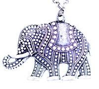 Vintage retro style antique silver coloured elephant pendant necklace