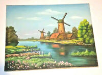 Folk Art Windmill Oil Painting Original Vintage Country Landscape Outsider Art