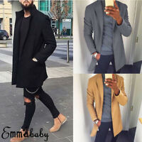 Men Cool Jacket Coat Warm Trench Long Overcoat  Wool Outwear Retro Tops