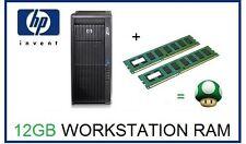 12GB (3x4GB) DDR3 ECC UDIMM Memoria RAM upgrade HP Z200 Z400 y Z600 Workstation