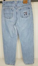 Vintage Tommy Hilfiger Logo Spell Out High Waist Mom Jeans 90s Sz 14 Light Wash