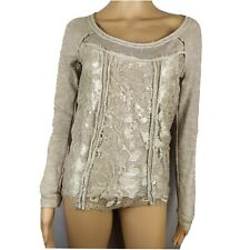 Maurices XS Beige Distressed Lace Sequined Long Sleeve Pullover Sweater