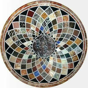 36 Inch Marble Hallway Table Top Geometrical Design Dining Table for Home Decor