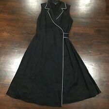 Jones New York Women Classic Black White Sleeveless Linen Wrap Dress Sz 14 Lined