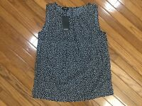 NWT Jones New York Sleeveless BLUE Polka Dot Blouse Top Pleated Neck  Sz M  New
