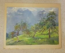 Original Oil painting of Lake Geneva with fruit trees by Dorothy M Bristow