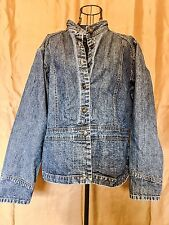 St Johns Bay Womens Plus XL Denim Blue Long Sleeve Button front Tunic Top
