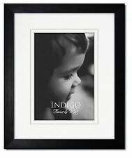 One 11x14 Black Hardwood Frame, Clear Glass, White Double Mat for 8x10