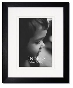 11x14 Black Hardwood Frame, Clear Glass, White Double Mat for 8x10
