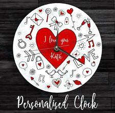 Personalised wall glass clock own text doodle love design Valentine's Day Gift