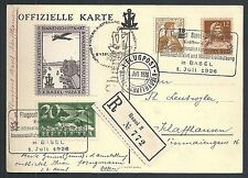 Switzerland covers 1926 R-Airmail spec PC CinderellaAusstellung Binnenschiffahrt