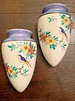 VINTAGE HAND PAINTED PORCELAIN WALL POCKET JAPAN LUSTRE LUSTERWARE FLORAL BIRD 2