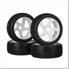 4x RC1:8 Off Road T-word Pattern Rubber Tire + White 5 spoke Plastic Wheel Rims