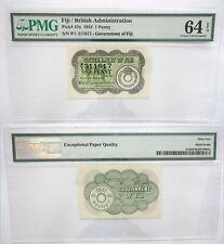 64 EPQ PMG Fiji British Administration 1 Penny 1942 UNC Banknote Pick #47a